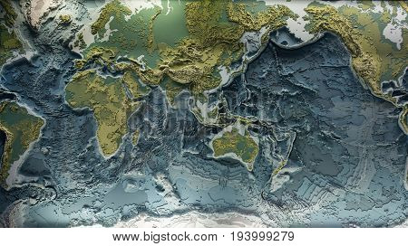 3d printed model of earth relief with topographic heights of mountains and depth of oceans