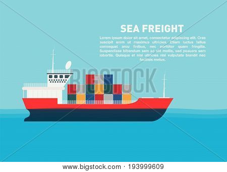 Transport cargo sea ship with containers. Sea transportation logistic sea freight. Space for text. Vector