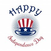 Independence Day card. Happy Independence Day. 4th of July. Uncle Sam Hat. Color icon isolated on white background. Vector illustration poster