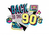 Memphis poster, card or invitation with geometric elements, sneakers and tape cassette. Back to the 90s. Vector illustration in trendy 80s-90s memphis style. poster