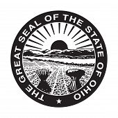 Seal of American state of Ohio; isolated on whiite background. poster
