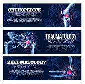 Orthopedics, traumatology and rheumatology medical banners set. Vector design of x-ray bones and joints of human body legs knee or foot, spine and arm hand or wrist and shoulder arthritis and trauma poster