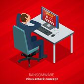 Ransomware, malicious software that blocks access to the victims data. Hacker attacks network. Isometric vector illustration. Internet crime concept. E-mail spam viruses bank account hacking poster