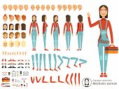 Big creation kit of girl mechanic in working clothes. Vector constructor with body parts. Character woman mechanic cartoon illustration poster