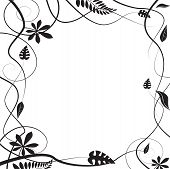 Floral border in black and white with the leaves and stems in silhouette poster