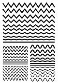 Vector big set of seamless wavy - curvy and zigzag - criss cross horizontal thick lines. Graphic design elements variation zigzag and wave line borders. Collection of different sharp and soft wave isolated on white background. Wave line for design of deco poster