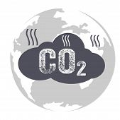 Co2 emissions icon cloud carbon dioxide emits symbol pollution concept smog damage from fumes pollution pollution bubbles combustion products isolated modern design sign poster