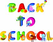 cartoon vector illustration of a advert of a back to school poster