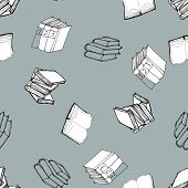 Seamless vector doodle pattern with books. Library hand drawn sketchy illustration. Reading and education concept. Black and white art on blue grey background poster