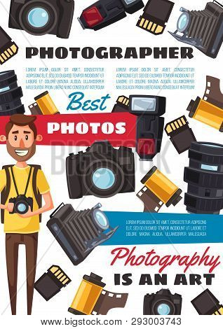 Photographer Profession And Photo Shooting Equipment, Cameras And Film Reels. Vector Professional Ph
