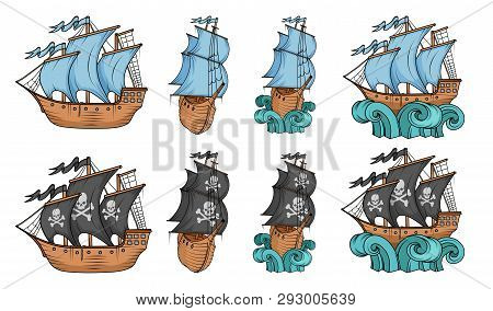 Set Of Sailing Ships And Sailboat. Commercial Sailboats Isolated On White Background. Pirating Sailb
