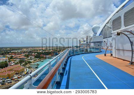 Bonaire, Caribbean - March 26, 2017 : Jogging Track On Royal Princess Ship Docked In Bonaire. Royal