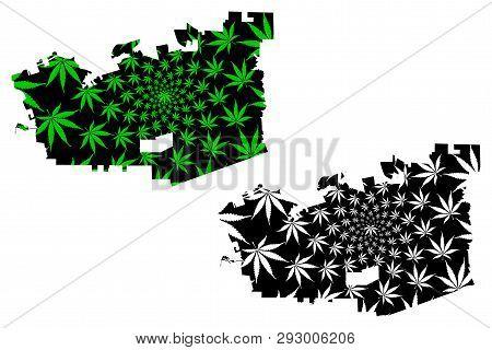 Chula Vista city (United States of America, USA, U.S., US, United States cities, usa city)- map is designed cannabis leaf green, City of Chula Vista map made of marijuana (marihuana,THC) foliage, poster