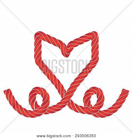 Rope Heart Icon Or Love Symbol Frame Isolated