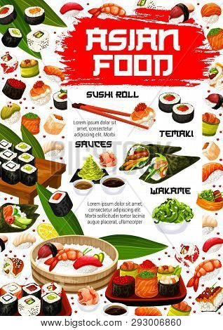 Japanese Sushi Bar And Asian Seafood Cuisine Menu With Maki Rolls And Sashimi. Vector Salmon Temaki
