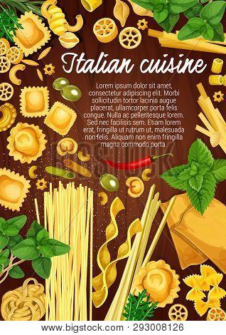 Italian Cuisine Pasta And Cooking Ingredients, Restaurant Menu And Italy Pasta Recipe. Vector Raviol