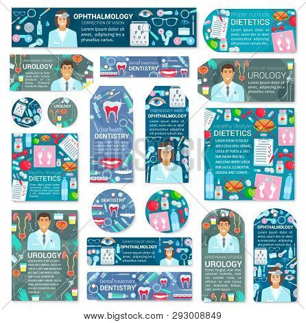 Healthcare And Medicine Posters With Medical Doctors And Clinic Diagnostic And Treatment Equipment.