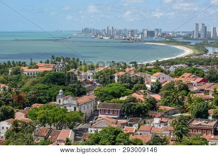 Old Colonial Town Of Olinda With The City Of Recife In The Background, Brazil