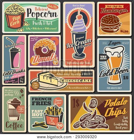 Fast Food Vintage Retro Menu Posters. Vector Fastfood Restaurant Delivery And Takeaway Burgers And S