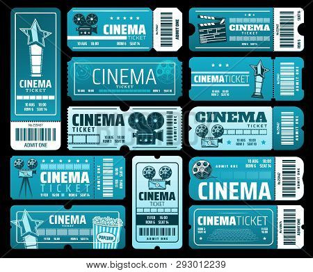 Night Film Festival Or Movie Premiere Tickets. Vector Cinema Tickets With 3d Glasses, Video Camera A