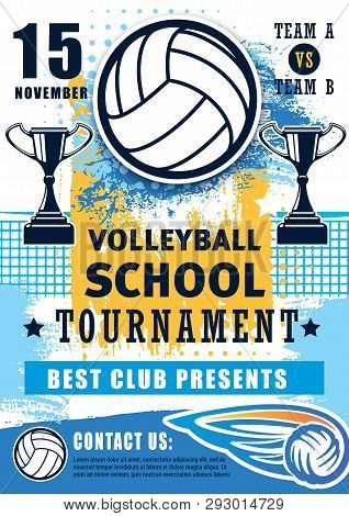 Volleyball Sport Championship Cup And School League Or College Team Match Tournament. Vector Volleyb