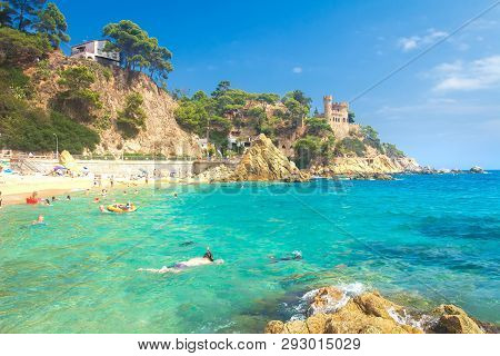 Lloret De Mar, Costa Brava, Spain - August 29, 2018: Lloret De Mar Beach On Sunny Summer Day With Sw