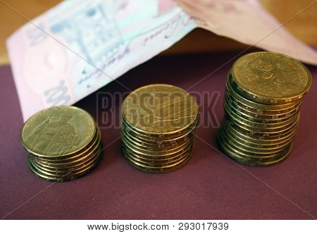 Stacks Of Coins From The Ukrainian Bank. Coins Of Ukrainian Type: Kopek. Concept Of Banking, Taxes,