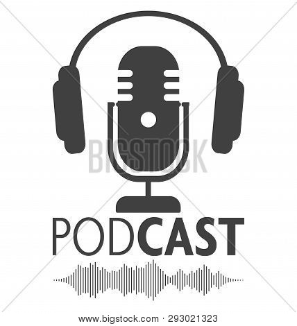 Podcasting Symbol With Microphone, Headphone And Audio Waveform