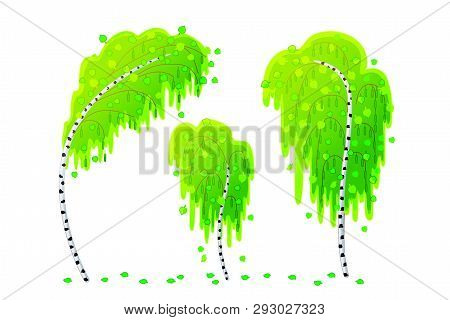 Vector Cartoon Plants Nature Clip Art. Green Birchwood