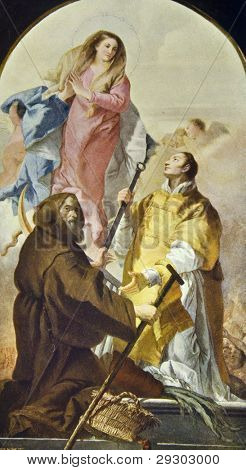 """Giovanni Battista Tiepolo """"Madonna and two saints.""""  Reproduction from illustrated Encyclopedia ?«Art galleries of Europe?», Partnership ?«M. O. Wolf?», St. Petersburg - Moscow, Russia , 1901 poster"""