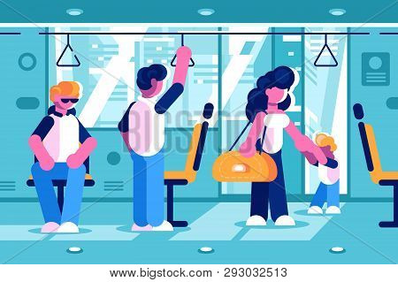 Passengers Inside The Bus Vector Illustration. People