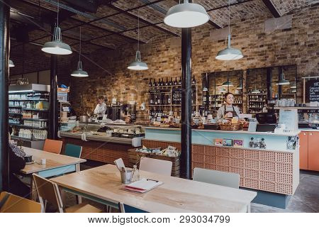 London, Uk - March 23, 2019: Interior Of The Camden Grocer, A Luxury Deli And Cafe In Camden Stables