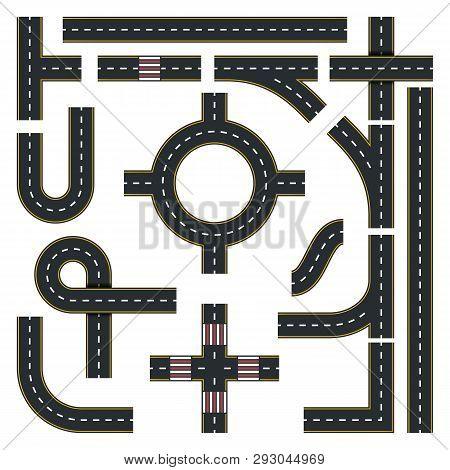 Traffic Interchange Kit. Set Of Seamless Road Top View. Vector