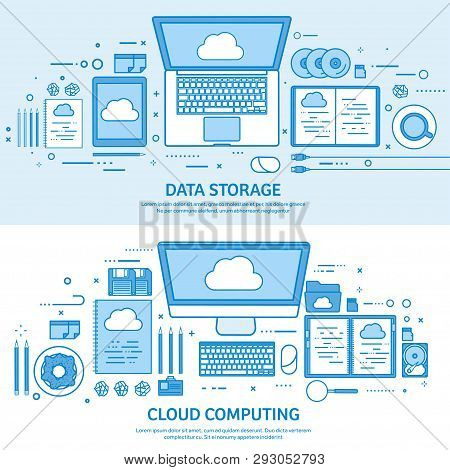 Cloud Computing, Media Data Server. Web Storage. Digital Technology. Internet Connection. Flat Blue