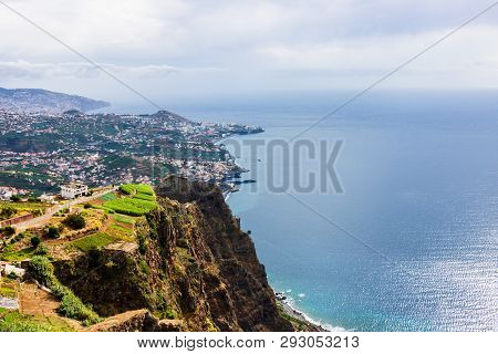 Cabo Girao, Madeira. View From The Highest Cliff Of Europe Towards Funchal.