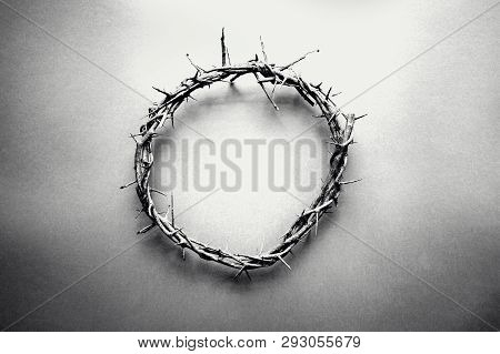 Moody Black And White Image Of Crown Of Thorns Like Jesus Christ Wore With Drops Of Blood On Tips Of