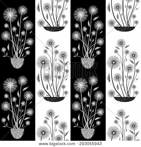 Elegant Hand Drawn White And Black Flowers In Half Drop Design. Seamless Vector Pattern On Striped B