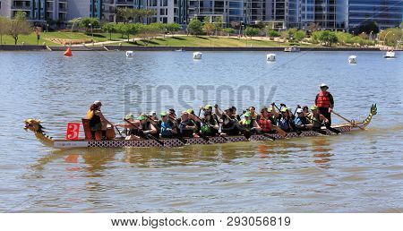 Tempe, Arizona / United States - March 30, 2019: Unnamed Team Rows Into Position Before The Start Of