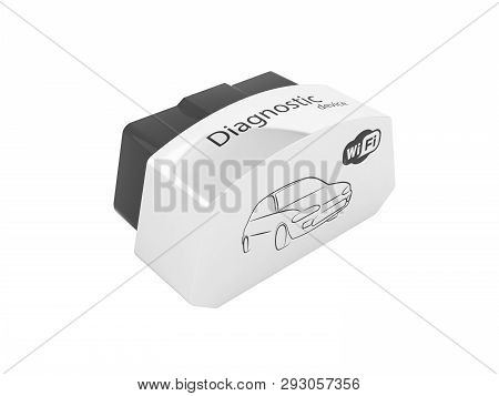 Obd2 Wireless Car Scanner Isolated On White Background 3d Illustration Without Shadow