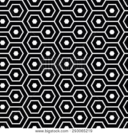 Elegant Meandering Hexagon In Black And White. Geometrical Vector Seamless Pattern. Abstract Honeyco