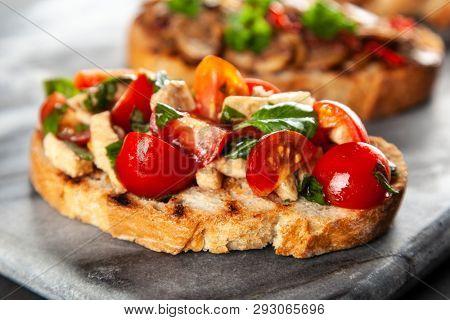 Traditional Italian bruschettas