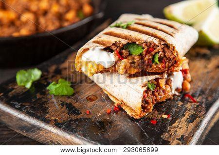 Mexican beef burrito