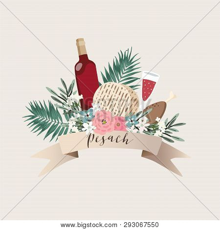 Jewish Holiday Pesach, Passover Greeting Card. Hand Drawn Ribbon Banner With Bottle Of Wine, Matzo B