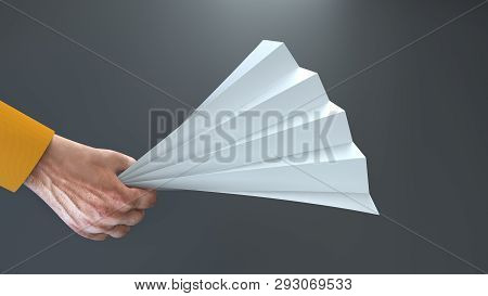 Paper Folding Clapper Mockup. Sports Fan Stadium Noise Maker Template. Isolated Realistic 3d Render