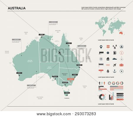 Detailed Map Australia.Vector Map Australia Vector Photo Free Trial Bigstock