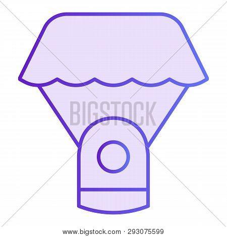 Capsule Parachute Flat Icon. Space Parachute Violet Icons In Trendy Flat Style. Astrophysics Gradien