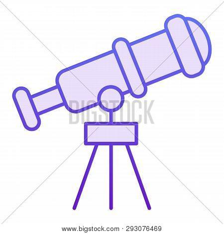 Telescope Flat Icon. Spyglass Violet Icons In Trendy Flat Style. Ocular Gradient Style Design, Desig