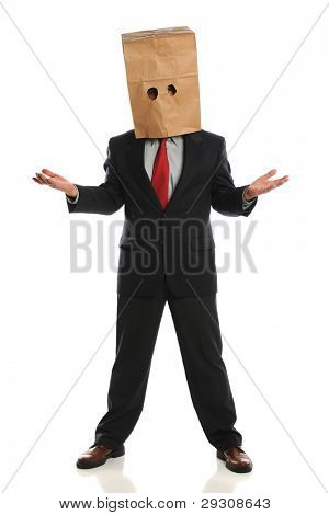Portrait of businessman wearing paper bag over head isolated over white background
