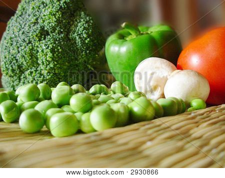 Close-up of different veggies spread on