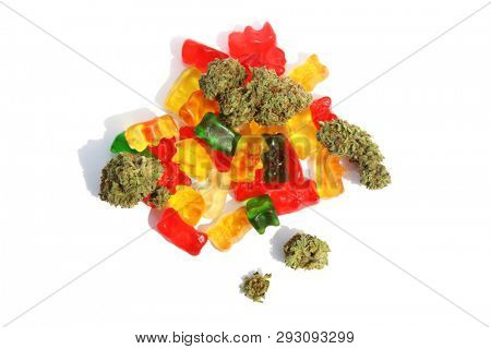 Marijuana Edibles. Cannabis Edibles. THC Infused Gummy Bears. CBD Infused Gummy Candies. Medical Cannabis. Recreational Marijuana. THC and CBD cannabis gummy candies. Edible marijuana products.